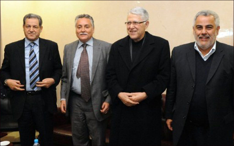 Prime Minister Abdelilah Benkirane (right) with coalition partners Abbas El Fassi (second to right), Nabil Ben Abdellah (second to left) and Mohand Laenser (left).AFPAbdelhak Senna