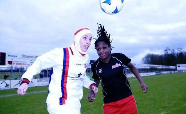 A model, left, demonstrates the sport hijab by Capster.