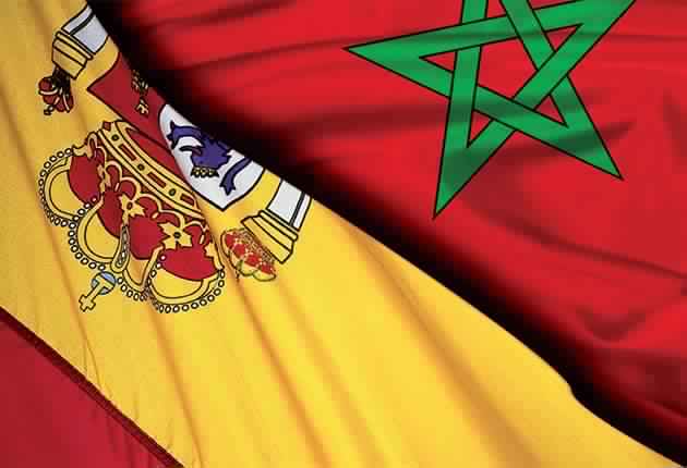 Morocco Spain flags