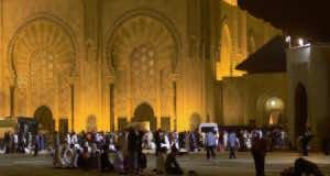 The Grand Mosque of Casablanca in Morocco during Ramadan