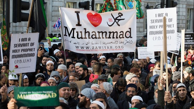 Muslims gathered to condemn the cartoons of Mohammed by the French publication Charlie Hebdo