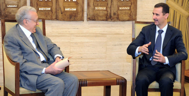 Syrian President Bashar al-Assad meeting with International peace envoy Lakhdar Brahimi in Damascus