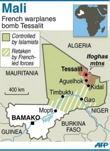 A map of Mali locating Tessalit (AFP-Graphic)