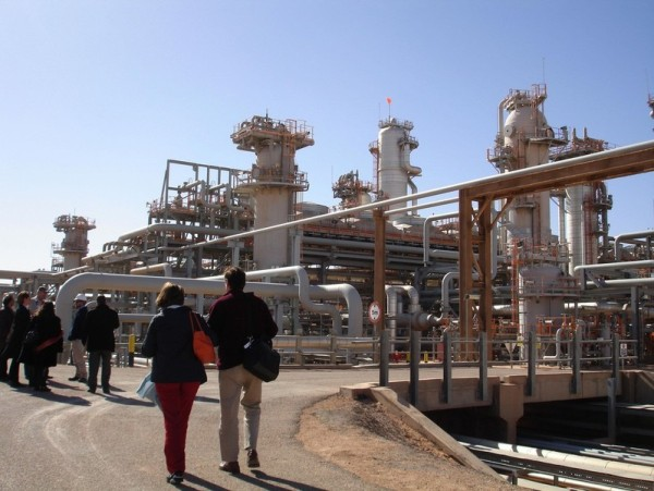 A foreign delegation visits on December 14, 2008 the Krechba gas treatment plant, about 1,200 km (746 miles) south of Algiers. The In Salah gas project, a four-year old venture grouping energy majors Sonatrach of Algeria, BP of Britain and Statoil of Norway, is described by its managers as the world's first and largest onshore carbon capture and sequestration scheme. The Organization of Petroleum Exporting Countries (OPEC) is due to meet on December 17, 2008 in the Algerian city of Oran. AFP PHOTO / STR (Photo credit should read STR/AFP/Getty Images)