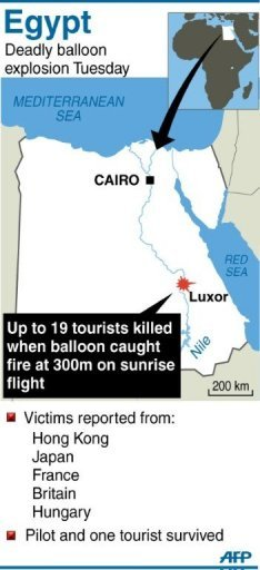 Graphic showing Luxor in Egypt where up to 19 tourists were killed (AFP graphic)