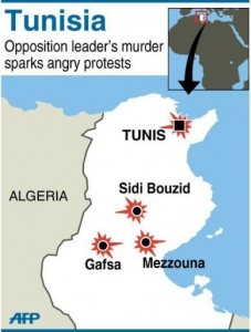 Map of Tunisia locating violent protests following the murder of opposition leader Chokri Belaid on February 6, 2013. AFP