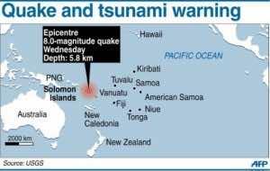 Quake and tsunami warning (AFP Graphic)