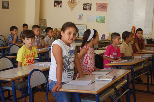 Students at Elementary school in Mlilia, Morocco