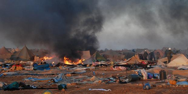 Violence broke out as security forces dismantled the Gdim Izik protest camp east of Laayoune. AFP-Getty Images