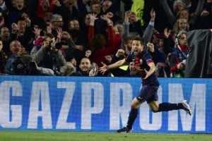 Barcelona's defender Jordi Alba celebrates after scoring at Camp Nou stadium in Barcelona on March 12, 2013 (AFP, Javier Soriano)