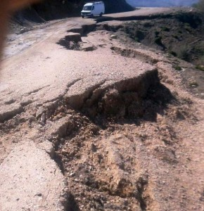 Deplorable state of the road linking the center of Beni Oulid and the far-flung Douar of Tamdah in Morocco. MWN Photo