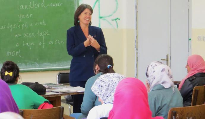 Dr. Ruth E. Petzold, at a teaching class in Morocco