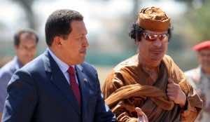Hugo Chavez with the ex Libyan dictator,Moammar Qadafi