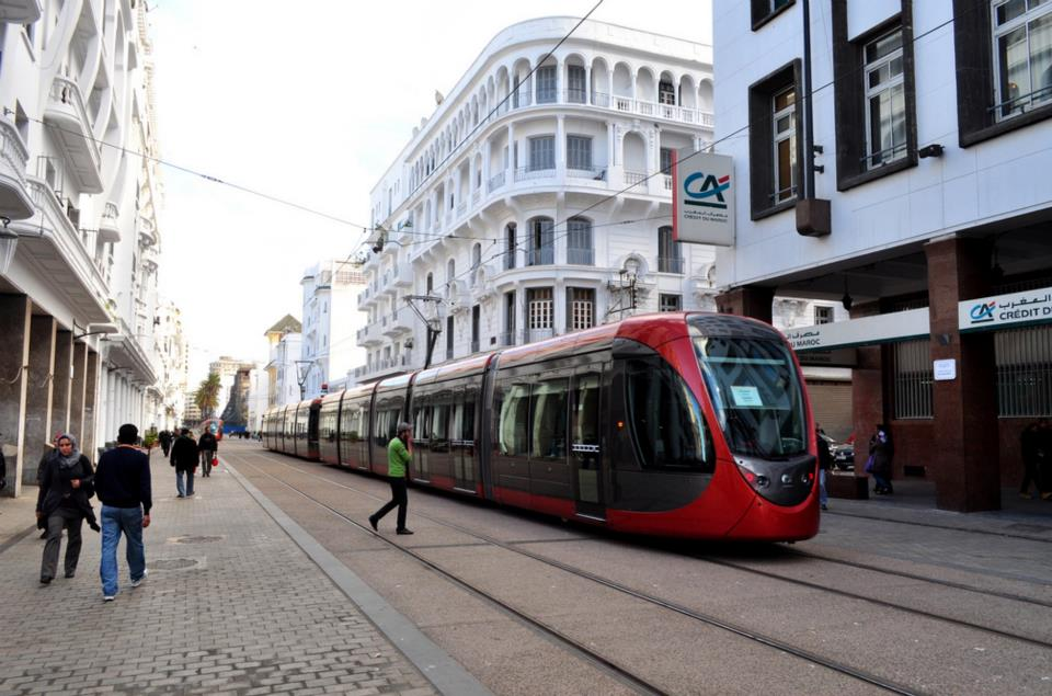 New tram on Boulevard Mohammed V in Casablanca. Picture by Tomek and Sylvia