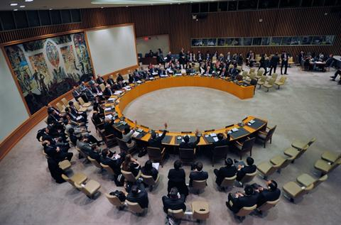 UN Security Council members at the United Nations headquarters in New York,