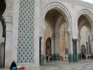 Woman meditating in Hassan II Mosque in Casablanca. (Photo by Benjamin Villanti-MWN)