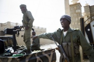 File picture shows shows Malian soldiers on patrol in the streets of Timbuktu. AFP