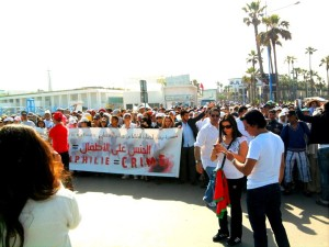 Moroccan demonstrating against Pedophilia. Photo by Mouhssine Baron Arfa for Morocco World News.