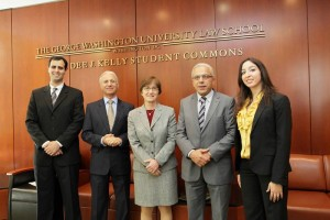 Leila Hanafi with Moroccan Minister Abdellatif Maazouz and Moroccan Ambassador to the United States Rachad Bouhlal (Picture courtesy George Washington University Law School