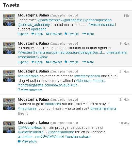 Mustapha Salma's fake twitter account