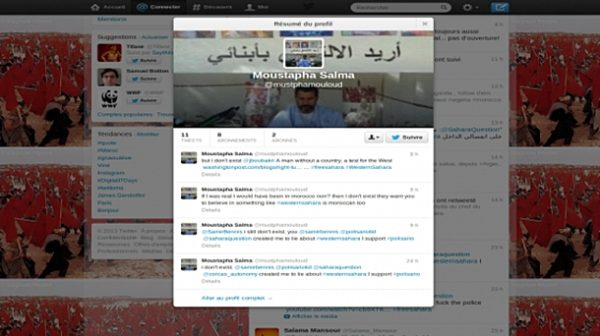 Polisario proponents create a fake twitter account of Mustapha Salma