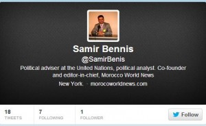 Samir Bennis' fake account on twitter