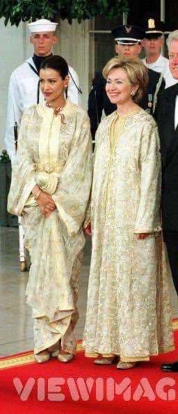 Former US Secretary of State, Hillary Clinton wearing the Moroccan Kaftan