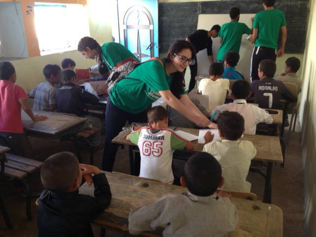 Moroccan volunteers giving extra hours of education to moroccan students in a village near Agadir