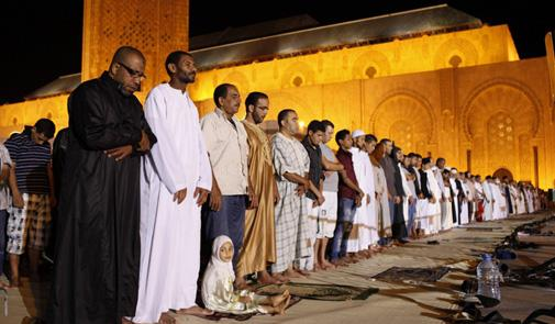 Moroccans perform Taraweeh prayers at the Hassan II mosque in Casablanca