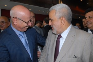 Mr. M'hammed Grine talking with Abdelilah Benkirane, head of the government