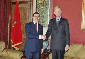 British Ambassador to Morocco Clive Alderton with Saad Eddine Otmani, Morocco's foreign Minister