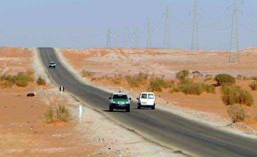 Algerian security forces patrol an area deep in the Sahara near the Libyan border on January 19, 2013