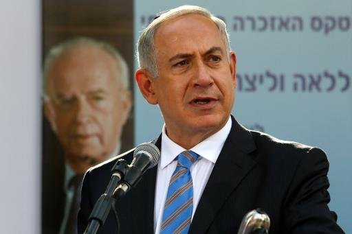 Israeli Prime Minister Benjamin Netanyahu gives a speech at a peace rally at the Mount Herzel cemetery in Jerusalem on October 16, 2013