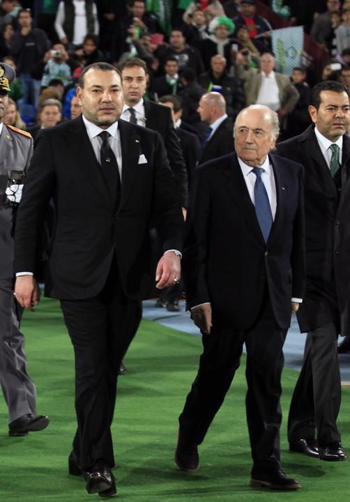 King Mohammed VI with FIFA President Sepp Blatter attending the FIFA Club World Cup (Photo, courtesy Europsport)