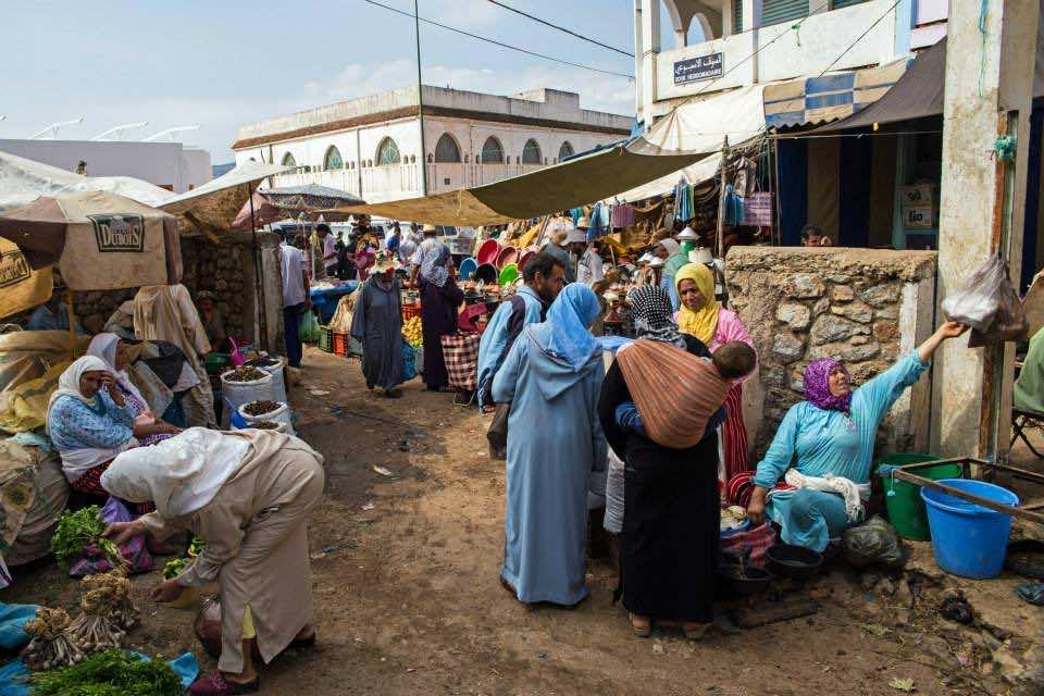 Moroccan women in a Souk in Chefchaoun