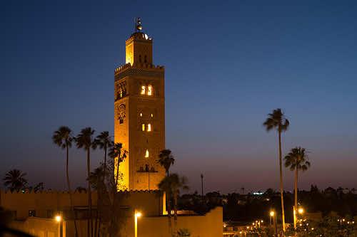 Koutoubia Mosque's minaret tower is a landmark of Marrakech