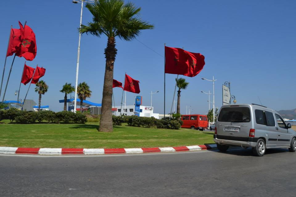 Moroccan Flag flying high in Tetouan