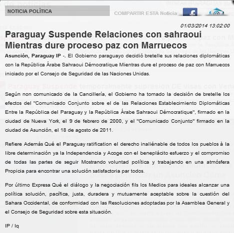 Paraguay suspends its relations with the Polisario