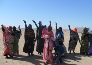 Saharaoui women protesting against the Polisario in the Tindouf camps