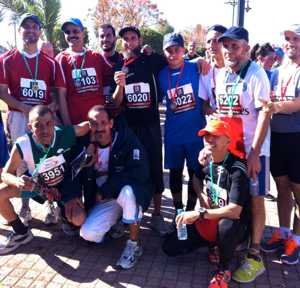Teams celebrate after the race