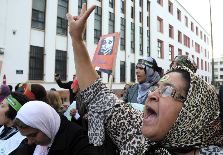 A woman shouts as hundreds of people form a human chain denouncing violence against women during a protest in the Moroccan city of Rabat on December 8, 2012 (AFP Photo:Fadel Senna)
