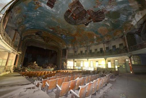 Abandoned playhouse of the Cervantes theatre, pictured in the Moroccan city of Tangiers, on January 23, 2014