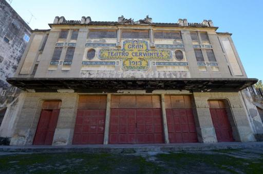 Facade of the Cervantes theatre, pictured in the Moroccan city of Tangiers, on January