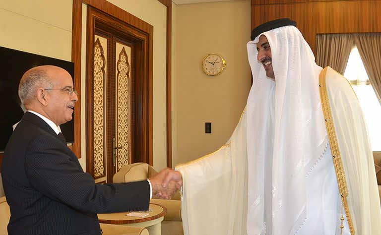 Emir of Qatar Receives Morocco's Speaker of Upper House (Photo courtesy Qatar News agency)