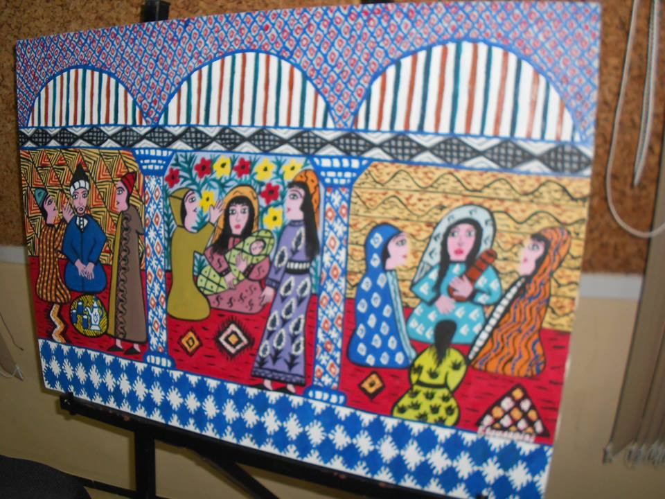 Fatema Elourdigui, painting, which reflects the traditional life of Moroccan women