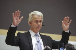 Dutch politician Geert Wilders talks at a meeting organized by Swedish Union for Liberty of Speech in Malmo