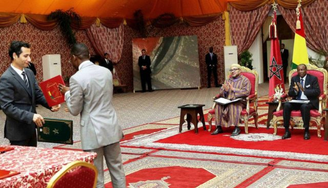 King Mohammed VI And Guinean President Chair Signing Ceremony of 21 Bilateral Agreements