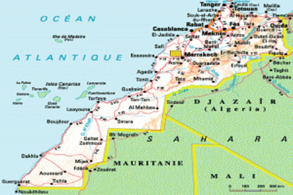 Map of the Moroccan Sahara. Western Sahara
