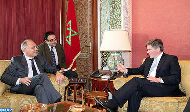 Moroccan foreign minister Salaheddine Mezouar, the British Minister in charge of Middle East and North Africa Hugh Robertson