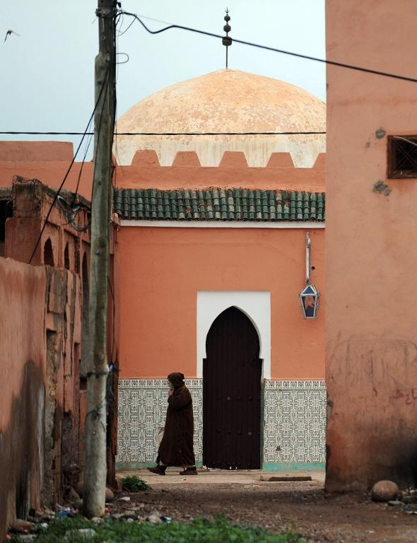 A door to the shrine of Bouya Omar is seen in the village of the same name, some 86 km east of Marrakesh, on March 20, 2014 (AFP Photo:Fadel Senna)
